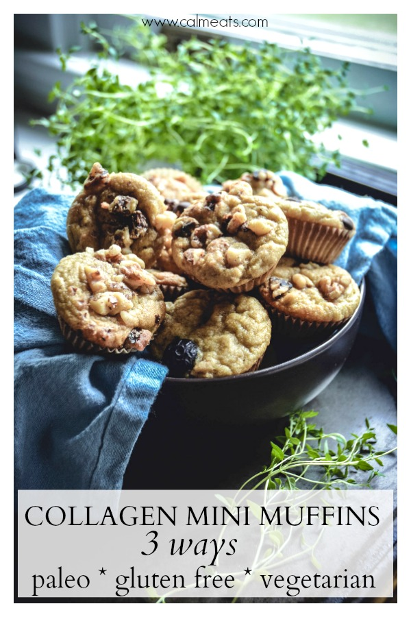 If you're looking to incorporate collagen into your diet and want a delicious way to do so, try these paleo and gluten free collagen mini muffins with chocolate chips, blueberries or walnuts. They make for a perfect breakfast or snack. #paleobreakfast, #paleosnacks, #paleo, #muffins, #glutenfreemuffins, #glutenfree, #calmeats, #breakfast, #paleobaking, #glutenfreebaking, #dairyfree