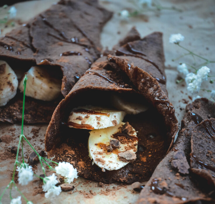 Paleo Chocolate Crepes with Salted Caramel