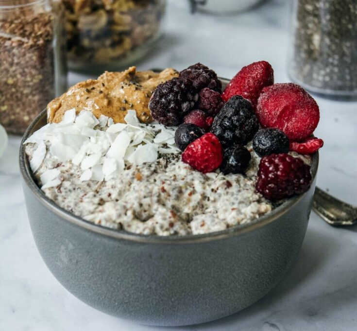 Overnight paleo oatmeal is a great alternative for those following a grain free lifestyle who are looking for that oatmeal feel. Try a warm bowl for yourself! #paleooatmeal #overnightpaleooatmeal #grainfreeoatmeal #whole30oatmeal #gainfreebreakfast #paleobreakfast #calmeats #glutenfree #dairyfree #paleo