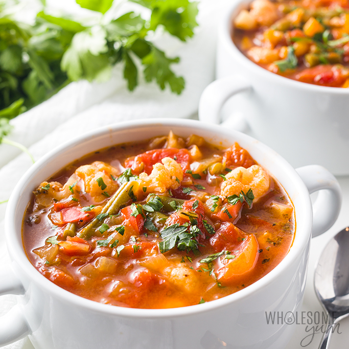 vegetable soup in mug
