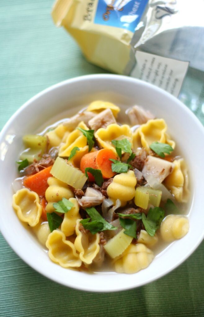 Chicken vegetable soup in pan