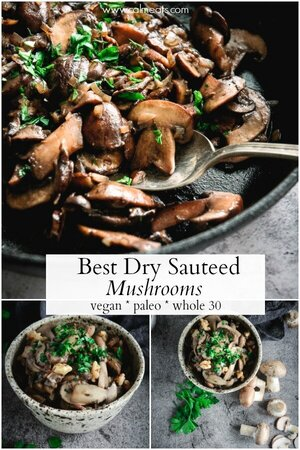 These Dry Sautéed Mushrooms make a quick and easy side dish that requires just a few ingredients and can be made in under 10 minutes. It's delicious, versatile, vegan, paleo and whole 30. #mushrooms #calmeats #vegan #sidedish #vegan #paleo #whole30 #vegansides #drysaauteedmushrooms #sauteedmushrooms