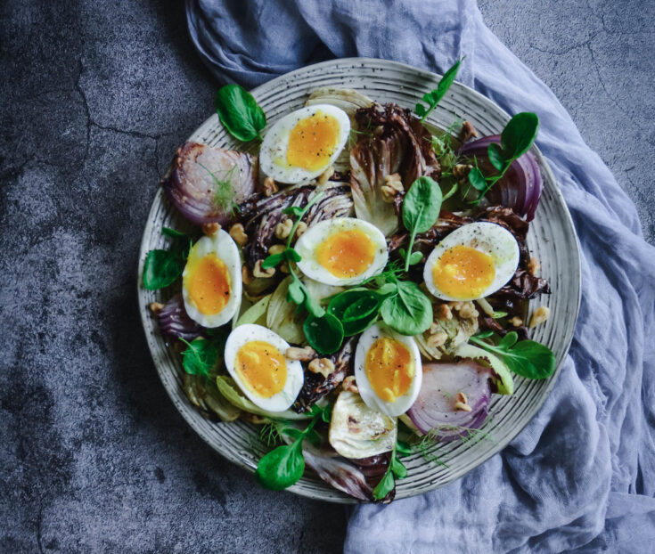 Grilled Radicchio Salad with Fennel and Soft Boiled Egg