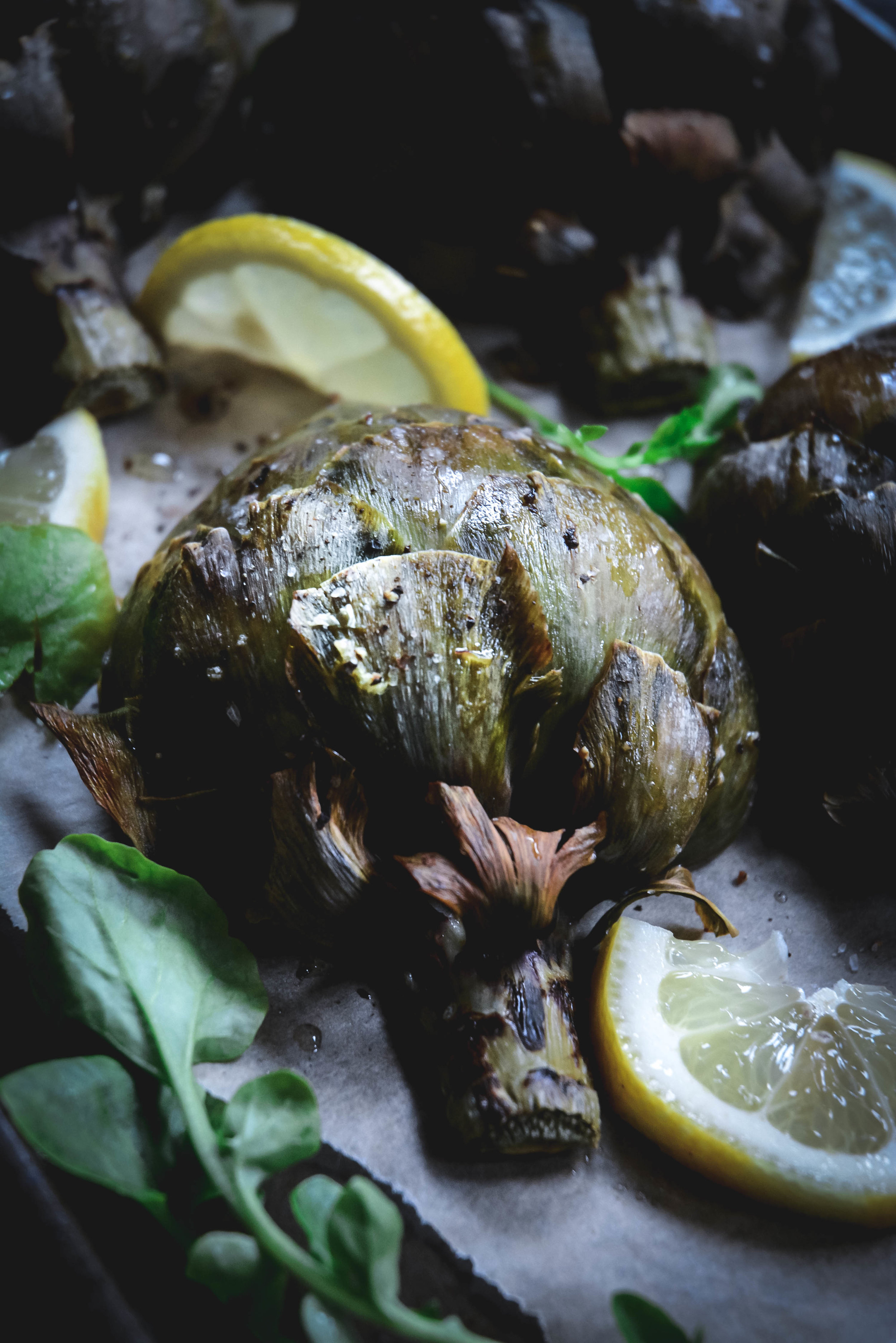 roasted artichokes with lemon slices