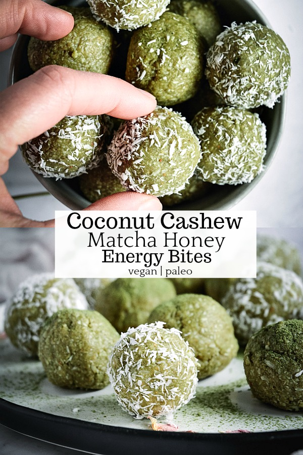 If you want a tasty, calm, yet energizing way to improve your mood and vitality, you will love these no-bake coconut cashew matcha honey energy bites. #vegan #nobake #glutenfree #grainfree #vegetarian #vegandessert #paleo #paleodessert #grainfreedessert #nobakedesserts #matchahoney #naturacentric #calmeats #honeybaseddesserts #desserts