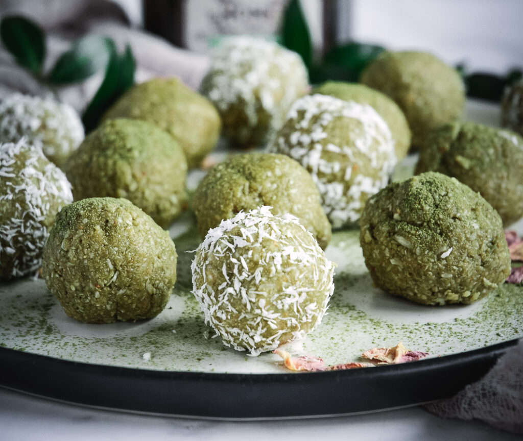coconut covered matcha balls